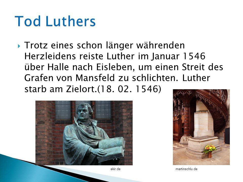 Trotz eines schon länger währenden Herzleidens reiste Luther im Januar 1546 über Halle nach Eisleben, um einen Streit des Grafen von Mansfeld zu schli