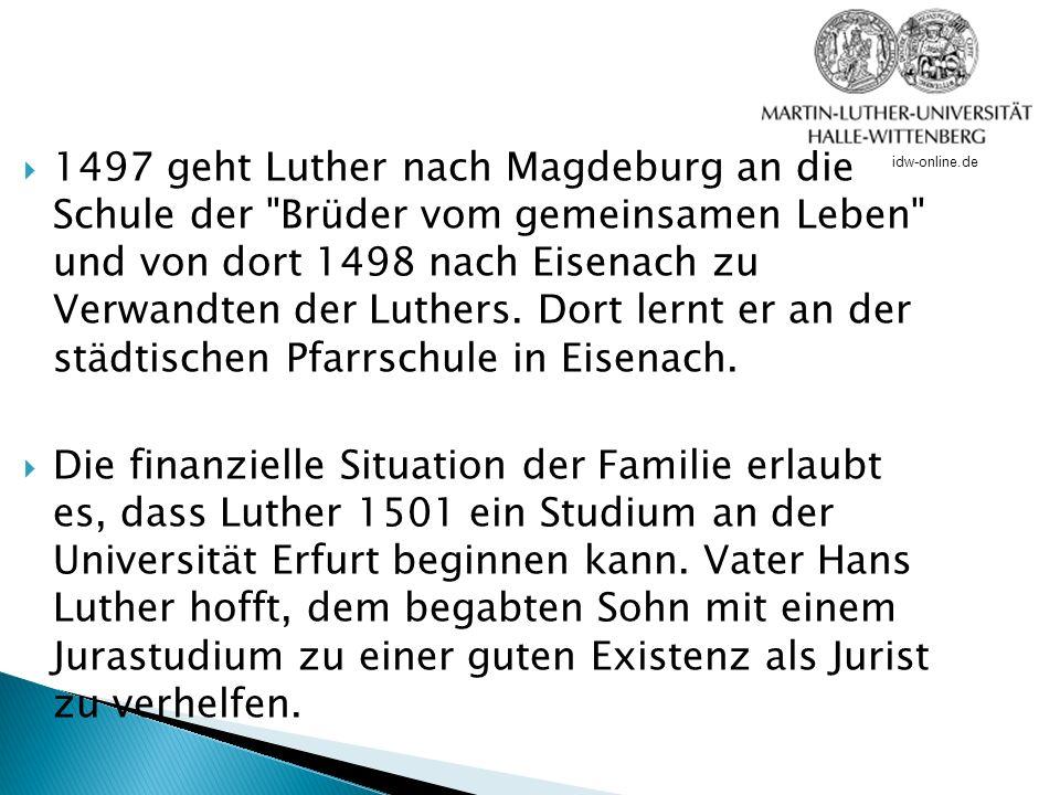 Man musste zur Zeit Luthers erst die sogenannten sieben freien Künste erlernen, bevor man studieren durfte.sieben freien Künste Dies tat Luther auch und erhält 1502 das Bakkalaureat, den ersten akademischen Grad.