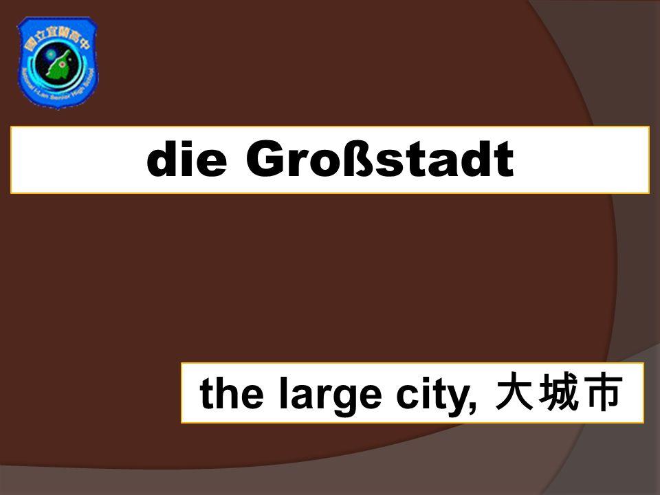 die Großstadt the large city,