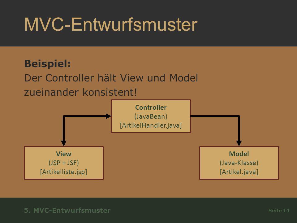 MVC-Entwurfsmuster Beispiel: Der Controller hält View und Model zueinander konsistent.