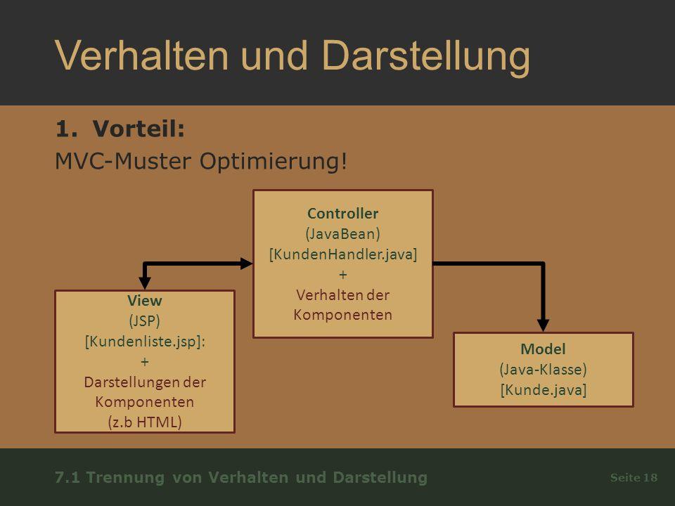 Verhalten und Darstellung 1.Vorteil: MVC-Muster Optimierung.