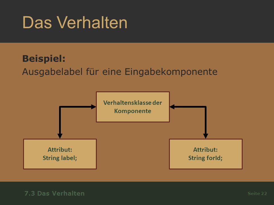 Das Verhalten Beispiel: Ausgabelabel für eine Eingabekomponente Seite 22 7.3 Das Verhalten Verhaltensklasse der Komponente Attribut: String label; Attribut: String forId;