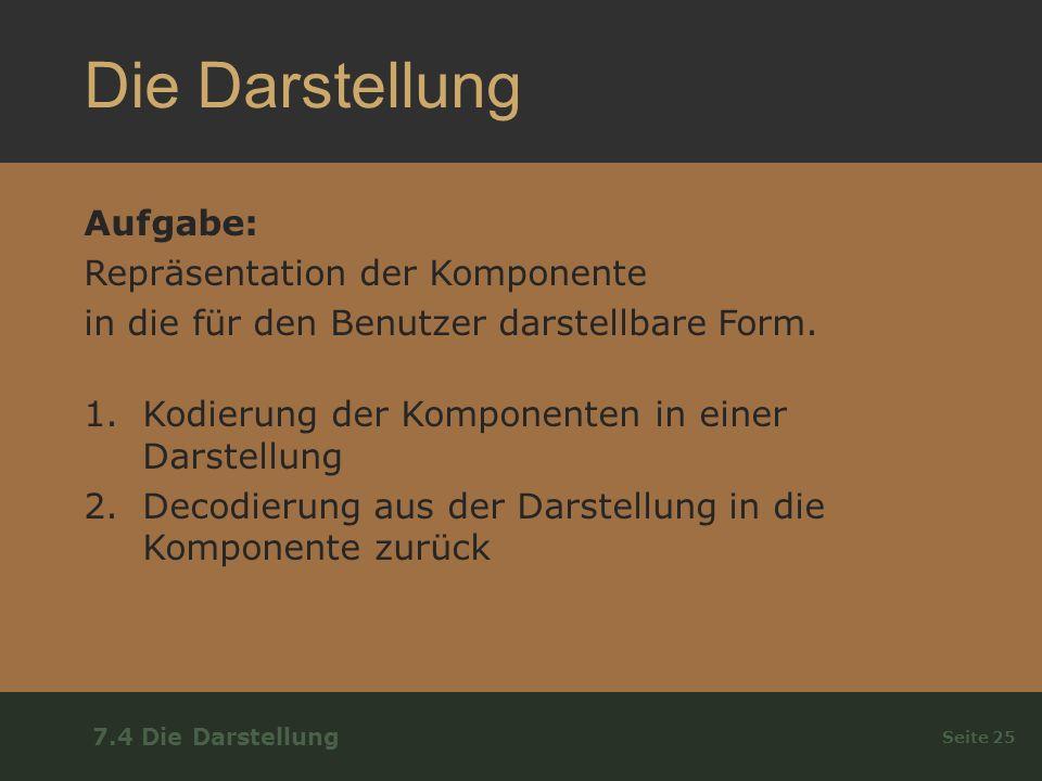 Die Darstellung Aufgabe: Repräsentation der Komponente in die für den Benutzer darstellbare Form.