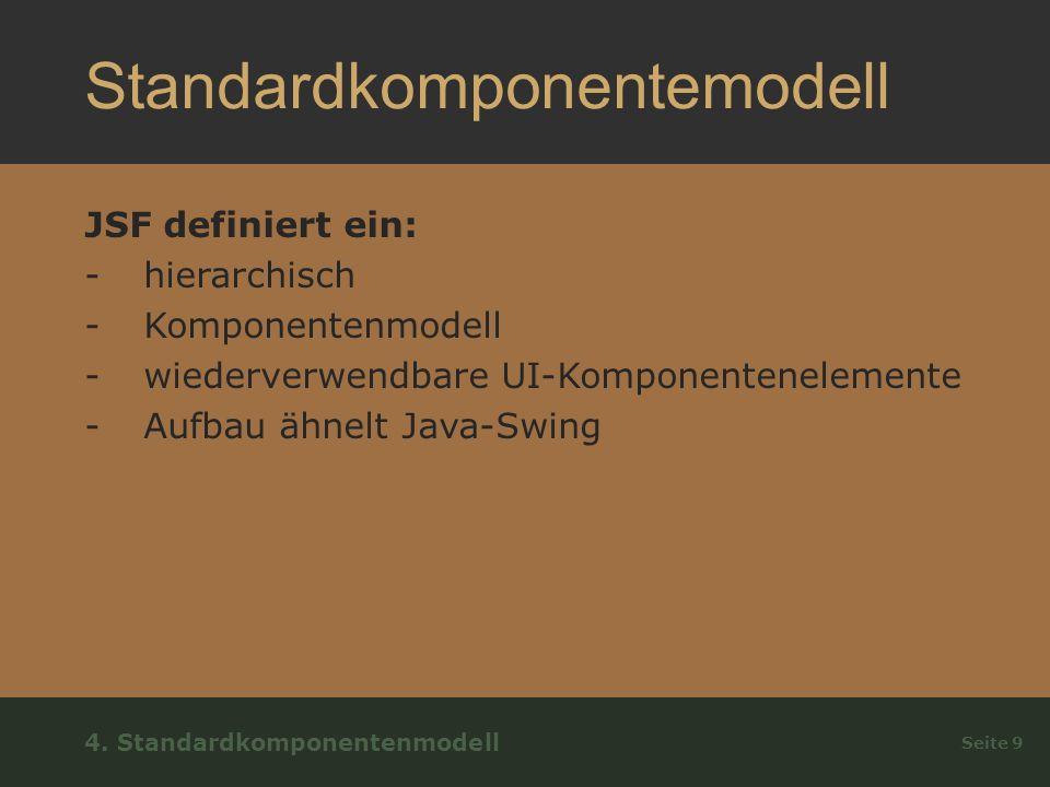 Standardkomponentemodell JSF definiert ein: -hierarchisch -Komponentenmodell -wiederverwendbare UI-Komponentenelemente -Aufbau ähnelt Java-Swing Seite 9 4.