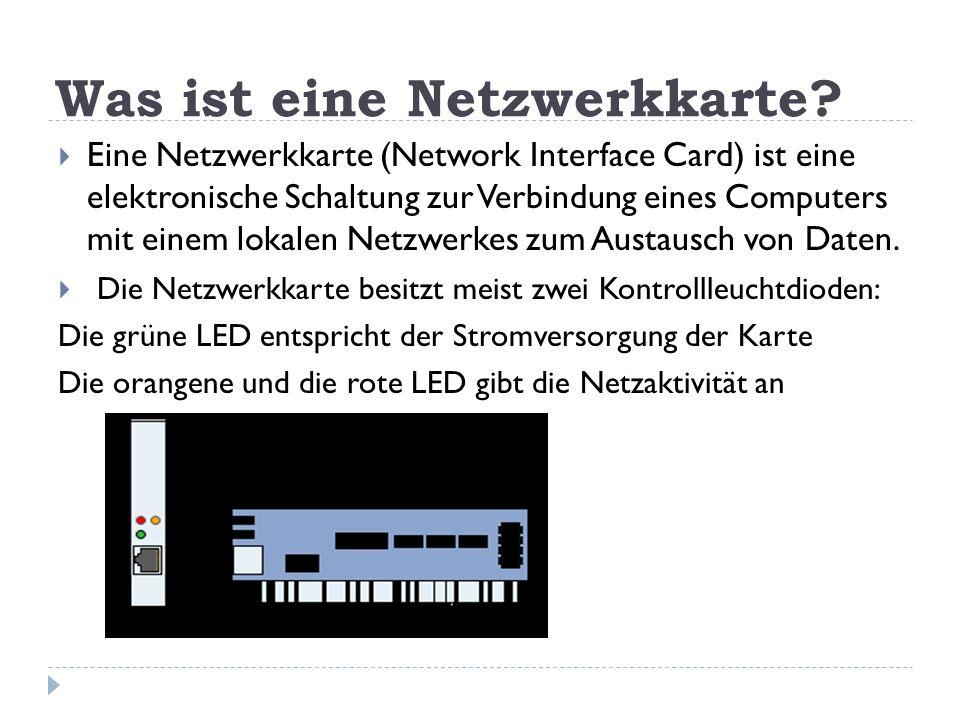 Was ist eine Netzwerkkarte? Eine Netzwerkkarte (Network Interface Card) ist eine elektronische Schaltung zur Verbindung eines Computers mit einem loka