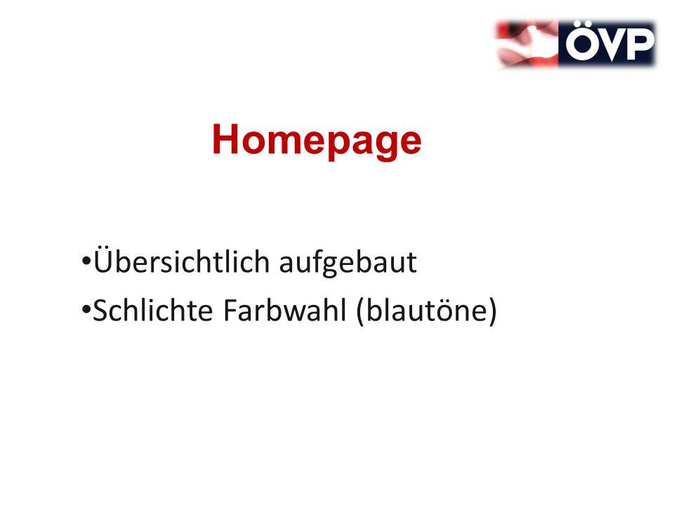 Homepage Übersichtlich aufgebaut Schlichte Farbwahl (blautöne)