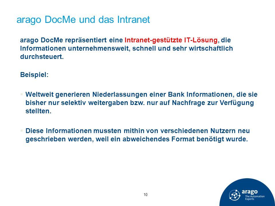 arago DocMe und das Intranet 10 arago DocMe repräsentiert eine Intranet-gestützte IT-Lösung, die Informationen unternehmensweit, schnell und sehr wirt