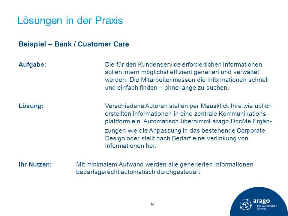 Lösungen in der Praxis Beispiel – Bank / Customer Care Aufgabe:Die für den Kundenservice erforderlichen Informationen sollen intern möglichst effizien