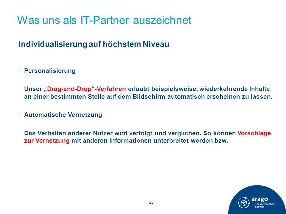 Was uns als IT-Partner auszeichnet Individualisierung auf höchstem Niveau Personalisierung Unser Drag-and-Drop-Verfahren erlaubt beispielsweise, wiede