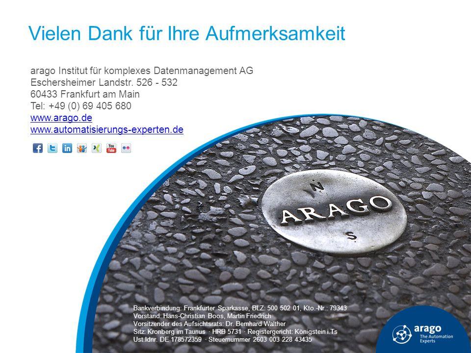 arago Institut für komplexes Datenmanagement AG Eschersheimer Landstr. 526 - 532 60433 Frankfurt am Main Tel: +49 (0) 69 405 680 www.arago.de www.auto