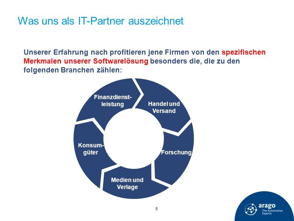 Was uns als IT-Partner auszeichnet 8 Unserer Erfahrung nach profitieren jene Firmen von den spezifischen Merkmalen unserer Softwarelösung besonders di