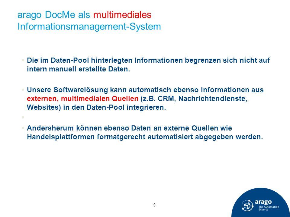arago DocMe als multimediales Informationsmanagement-System 9 Die im Daten-Pool hinterlegten Informationen begrenzen sich nicht auf intern manuell ers