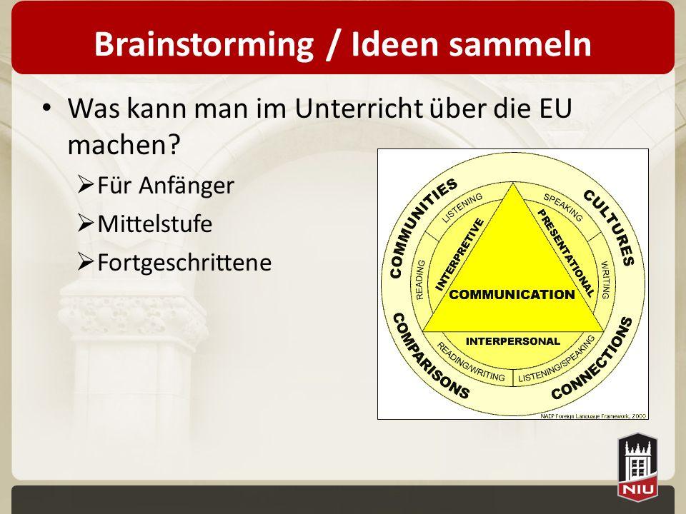 Brainstorming / Ideen sammeln Was kann man im Unterricht über die EU machen? Für Anfänger Mittelstufe Fortgeschrittene