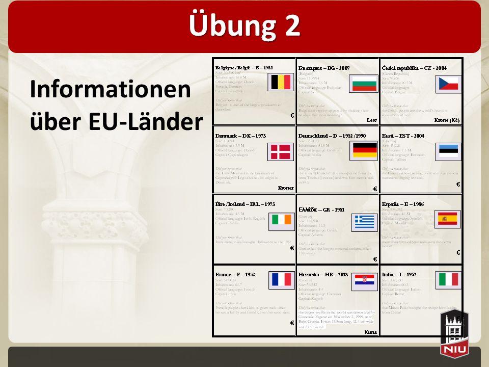 Übung 2 Informationen über EU-Länder