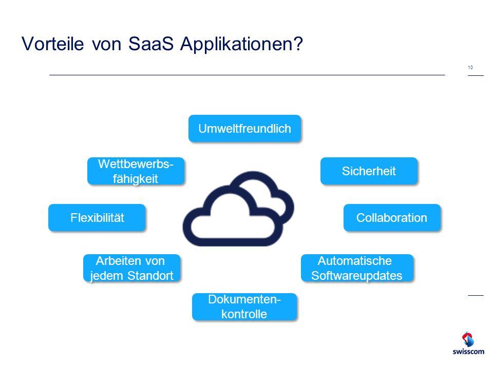 Vorteile von SaaS Applikationen? 10 Flexibilität Automatische Softwareupdates Collaboration Arbeiten von jedem Standort Dokumenten- kontrolle Sicherhe