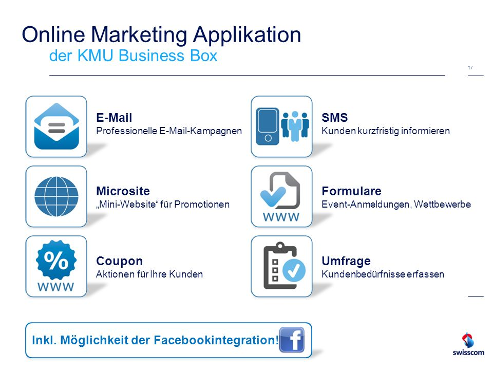 17 Online Marketing Applikation der KMU Business Box E-Mail Professionelle E-Mail-Kampagnen Microsite Mini-Website für Promotionen Coupon Aktionen für
