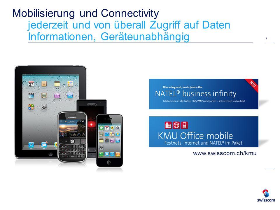 Mobilisierung und Connectivity jederzeit und von überall Zugriff auf Daten Informationen, Geräteunabhängig 4 www.swisscom.ch/kmu