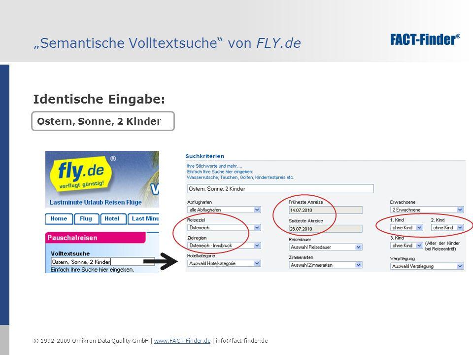 © 1992-2009 Omikron Data Quality GmbH | www.FACT-Finder.de | info@fact-finder.dewww.FACT-Finder.de Semantische Volltextsuche von FLY.de Ostern, Sonne, 2 Kinder Identische Eingabe: