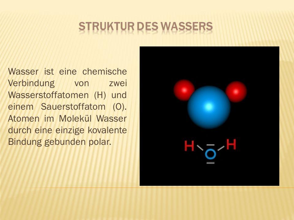 Wasser ist eine chemische Verbindung von zwei Wasserstoffatomen (H) und einem Sauerstoffatom (O). Atomen im Molekül Wasser durch eine einzige kovalent
