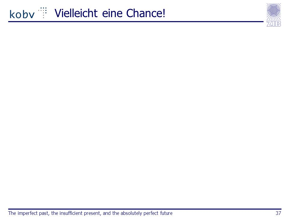 Vielleicht eine Chance! The imperfect past, the insufficient present, and the absolutely perfect future37