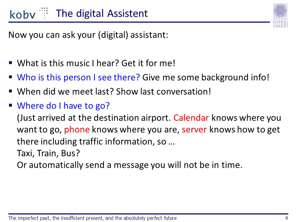 The digital Assistent Now you can ask your (digital) assistant: What is this music I hear.
