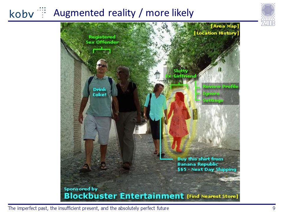 Augmented reality / more likely The imperfect past, the insufficient present, and the absolutely perfect future9