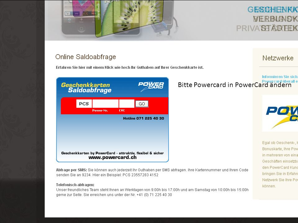 Bitte Powercard in PowerCard ändern