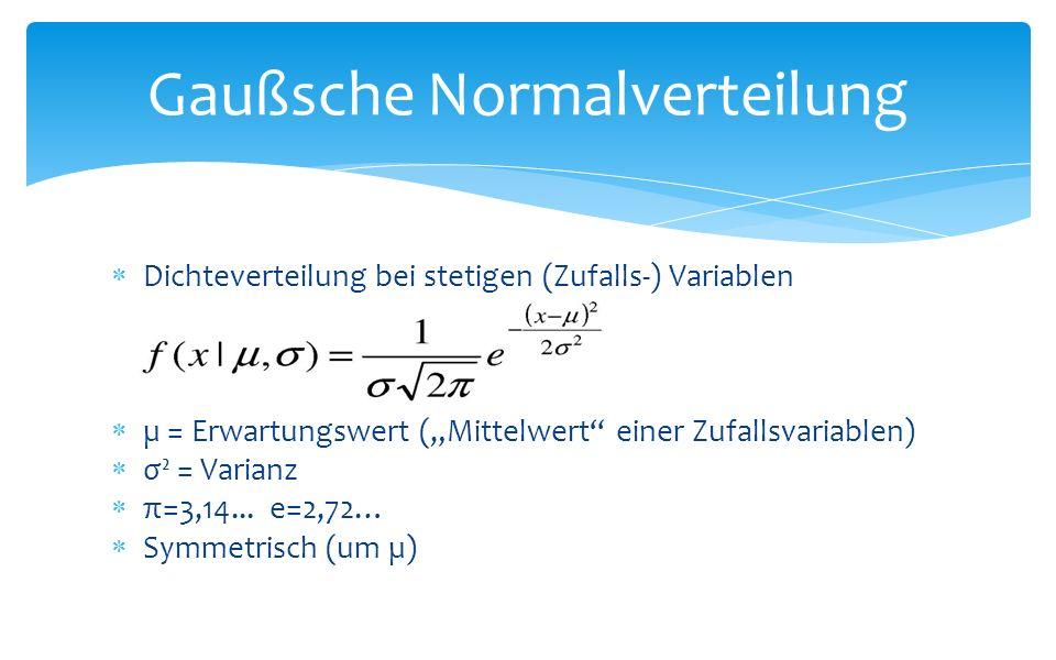 Dichteverteilung bei stetigen (Zufalls-) Variablen µ = Erwartungswert (Mittelwert einer Zufallsvariablen) σ² = Varianz π=3,14...