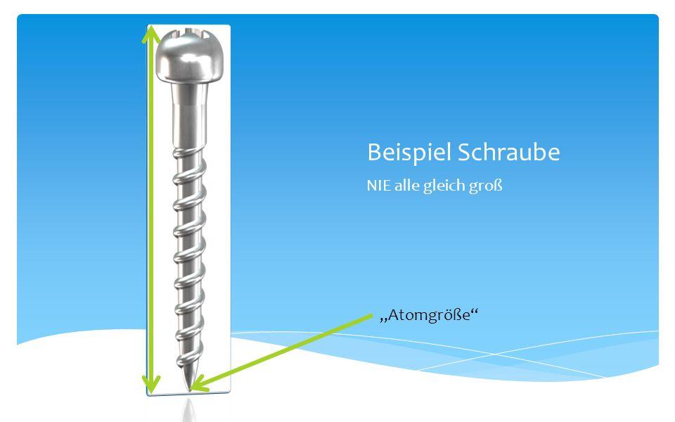 Beispiel Schraube NIE alle gleich groß Atomgröße