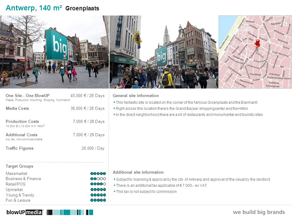 ________________ _____ ______ __________ _____ ____ Textmasterformate durch Klicken bearbeiten Zweite Ebene Dritte Ebene Vierte Ebene Fünfte Ebene Antwerp, 120 m² Groenplaats/Meir