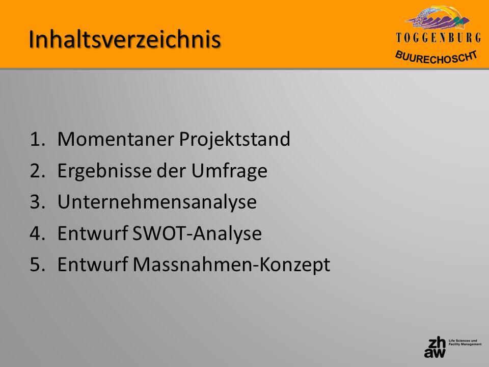 Inhaltsverzeichnis 1.Momentaner Projektstand 2.Ergebnisse der Umfrage 3.Unternehmensanalyse 4.Entwurf SWOT-Analyse 5.Entwurf Massnahmen-Konzept