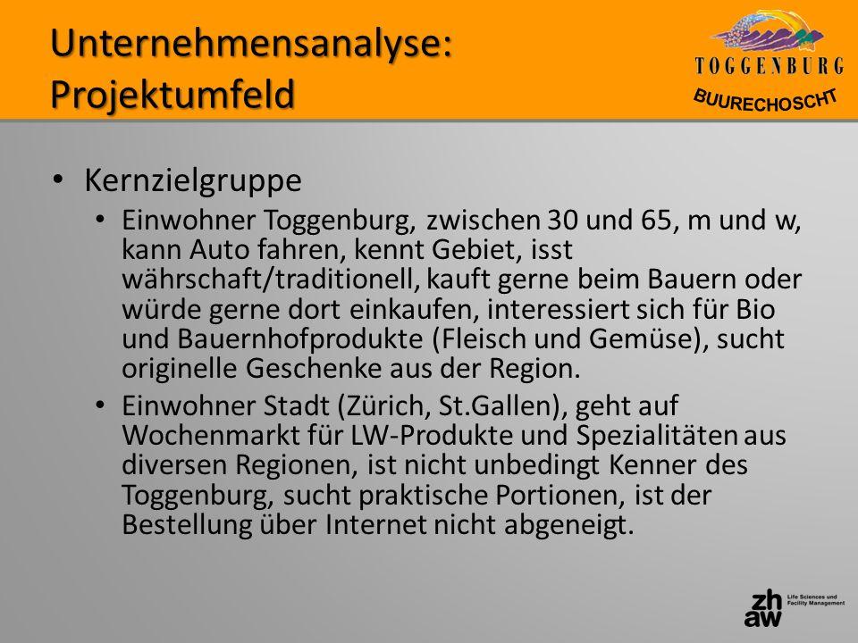 Unternehmensanalyse: Projektumfeld Kernzielgruppe Einwohner Toggenburg, zwischen 30 und 65, m und w, kann Auto fahren, kennt Gebiet, isst währschaft/t