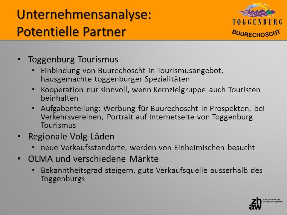 Unternehmensanalyse: Potentielle Partner Toggenburg Tourismus Einbindung von Buurechoscht in Tourismusangebot, hausgemachte toggenburger Spezialitäten