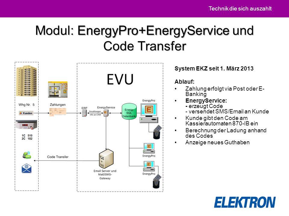 Technik die sich auszahlt Modul: EnergyPro+EnergyService und Code Transfer System EKZ seit 1.