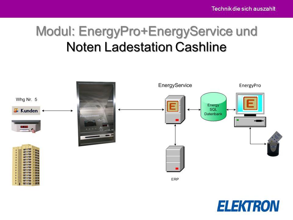 Technik die sich auszahlt Modul: EnergyPro+EnergyService und Noten Ladestation Cashline