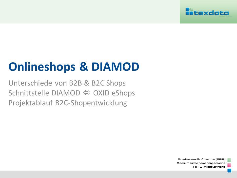Onlineshops & DIAMOD Unterschiede von B2B & B2C Shops Schnittstelle DIAMOD OXID eShops Projektablauf B2C-Shopentwicklung