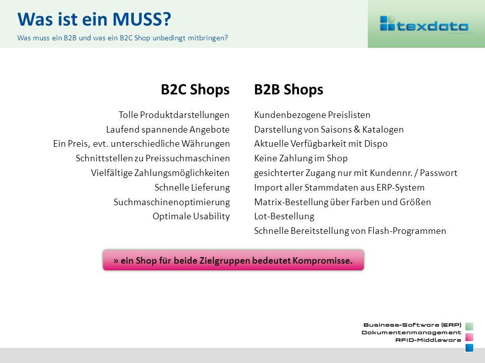 Was ist ein MUSS? B2C Shops Tolle Produktdarstellungen Laufend spannende Angebote Ein Preis, evt. unterschiedliche Währungen Schnittstellen zu Preissu