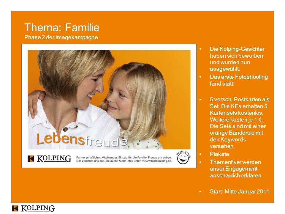 Thema: Familie Phase 2 der Imagekampagne Die Kolping-Gesichter haben sich beworben und wurden nun ausgewählt.