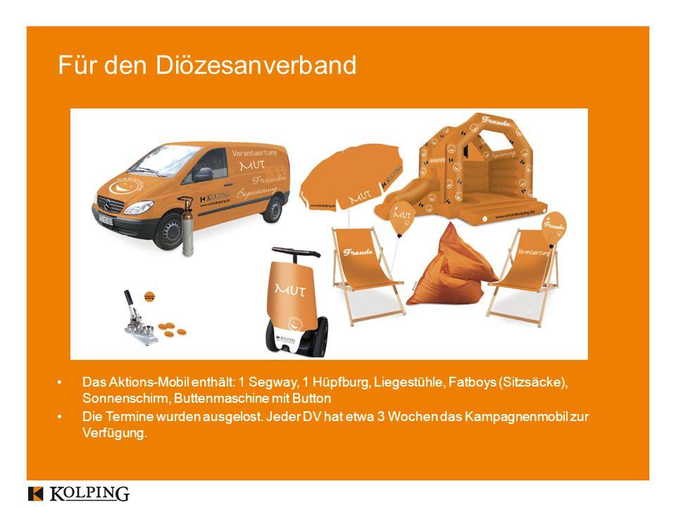 Für den Diözesanverband Das Aktions-Mobil enthält: 1 Segway, 1 Hüpfburg, Liegestühle, Fatboys (Sitzsäcke), Sonnenschirm, Buttenmaschine mit Button Die Termine wurden ausgelost.