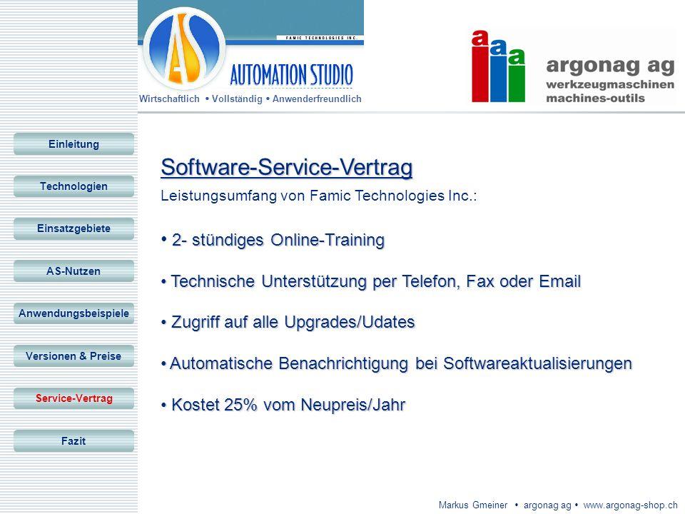Wirtschaftlich Vollständig Anwenderfreundlich Markus Gmeiner argonag ag www.argonag-shop.ch Software-Service-Vertrag Leistungsumfang von Famic Technol