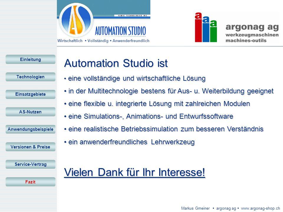 Wirtschaftlich Vollständig Anwenderfreundlich Markus Gmeiner argonag ag www.argonag-shop.ch Vielen Dank für Ihr Interesse! Einleitung Technologien Ein