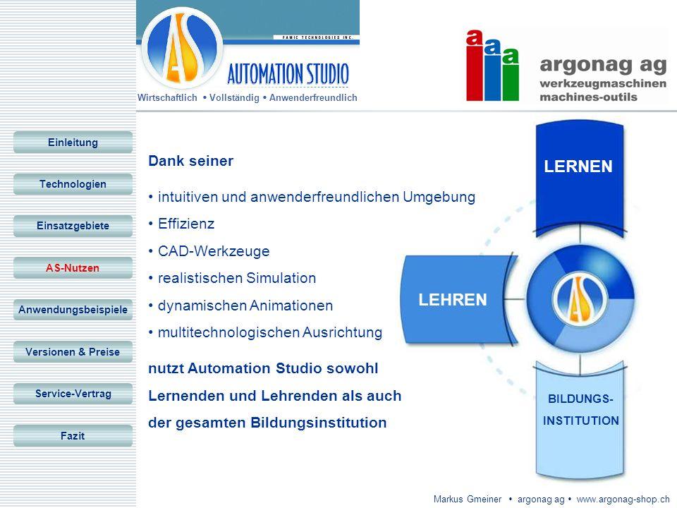 Wirtschaftlich Vollständig Anwenderfreundlich Markus Gmeiner argonag ag www.argonag-shop.ch BILDUNGS- INSTITUTION LERNEN LEHREN...