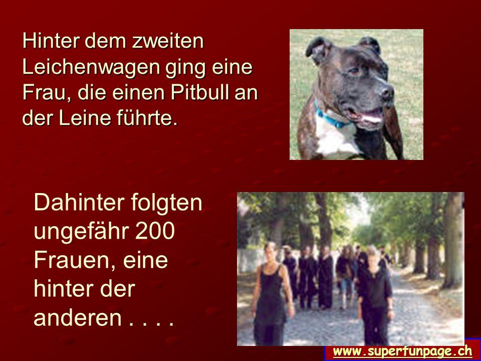 www.superfunpage.ch Hinter dem zweiten Leichenwagen ging eine Frau, die einen Pitbull an der Leine führte.