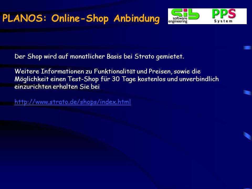 PLANOS: Online-Shop Anbindung Ansicht der Artikel- liste in der Admin- Oberfläche des Shops.