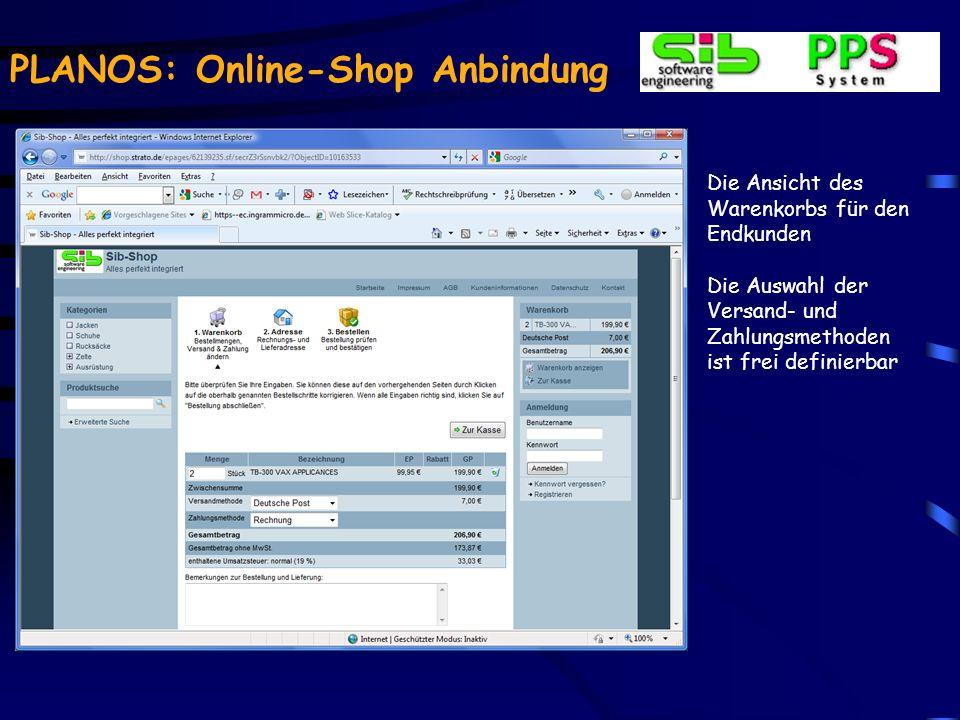 PLANOS: Online-Shop Anbindung Der Artikel ist nach dem Import sofort im Shop verfügbar und kann bestellt werden.