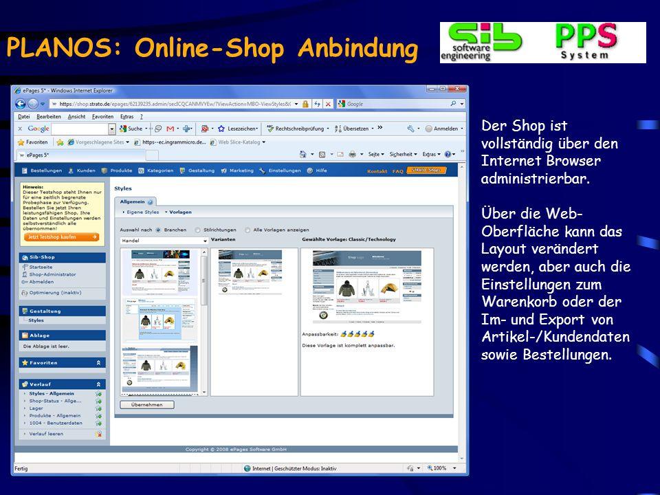 PLANOS: Online-Shop Anbindung Mit der Bestellübersicht und der Bestätigung der AGBs durch den Kunden endet der Bestellvorgang im Shop.