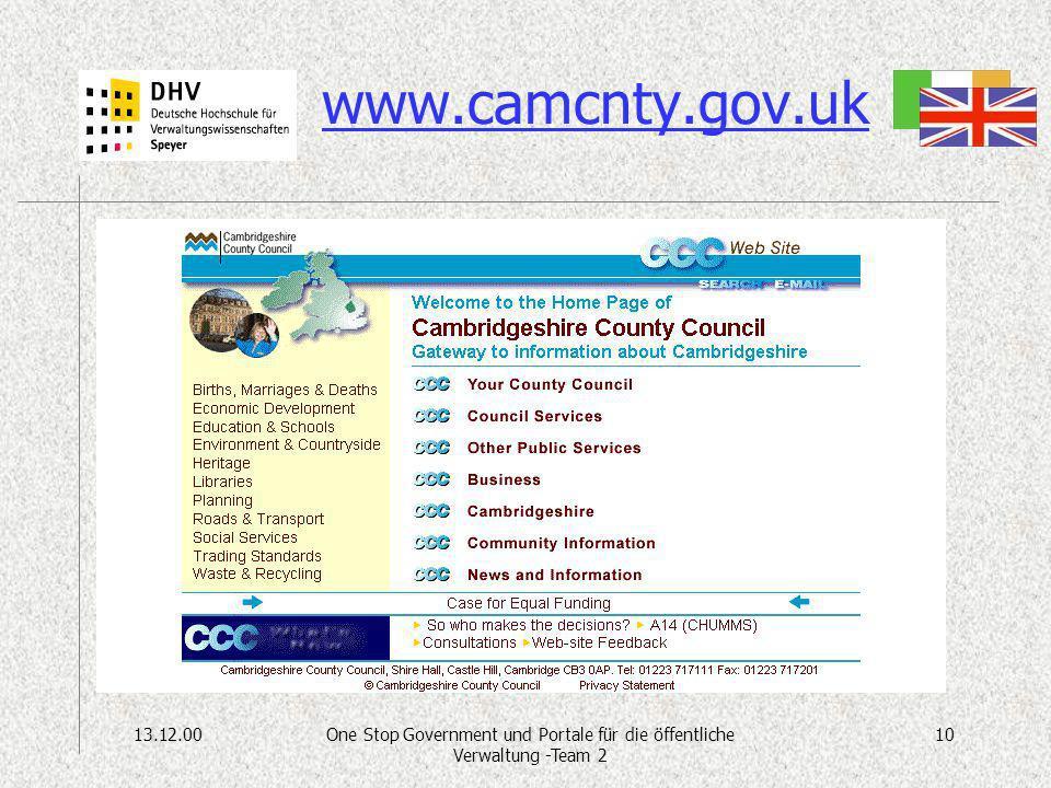 13.12.0010One Stop Government und Portale für die öffentliche Verwaltung -Team 2 www.camcnty.gov.uk