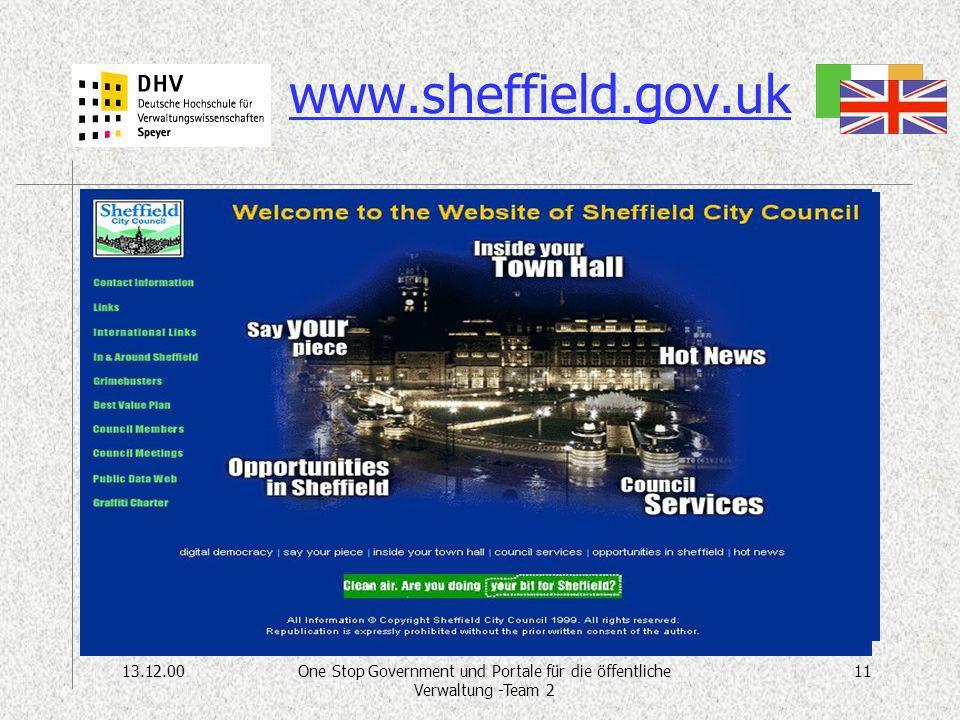 13.12.0011One Stop Government und Portale für die öffentliche Verwaltung -Team 2 www.sheffield.gov.uk