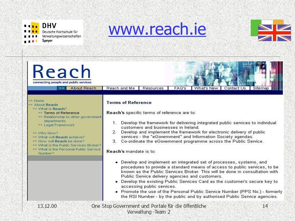 13.12.0014One Stop Government und Portale für die öffentliche Verwaltung -Team 2 www.reach.ie