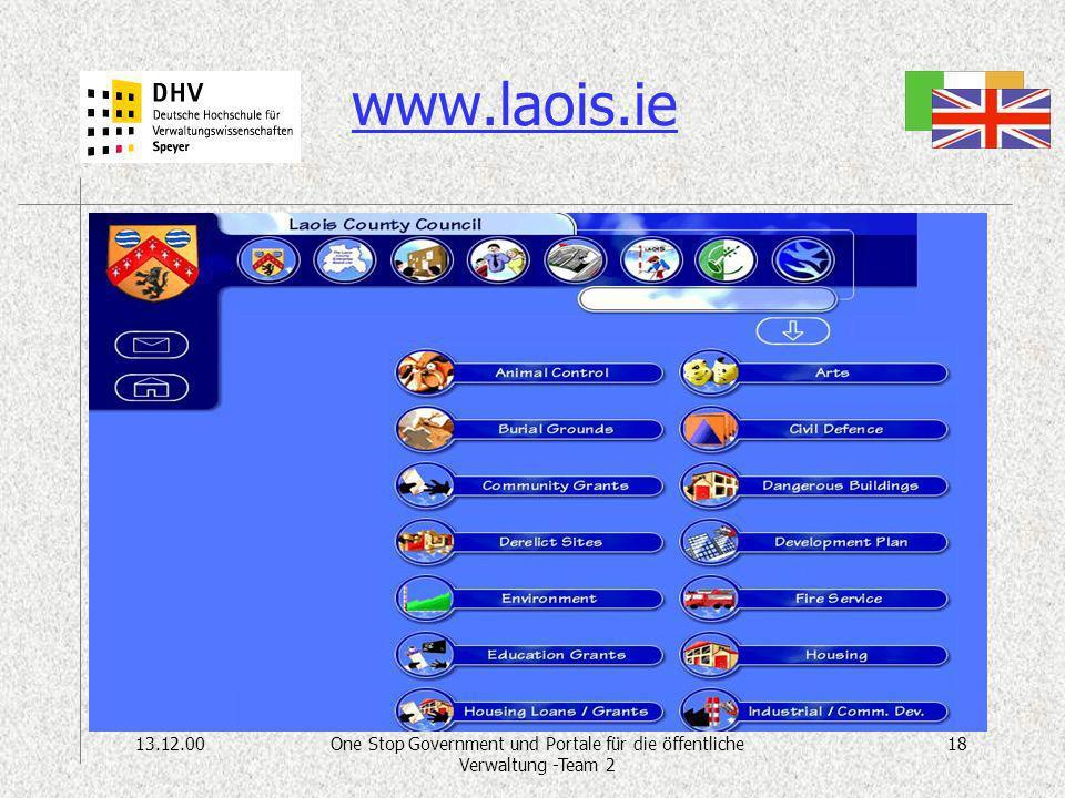 13.12.0018One Stop Government und Portale für die öffentliche Verwaltung -Team 2 www.laois.ie